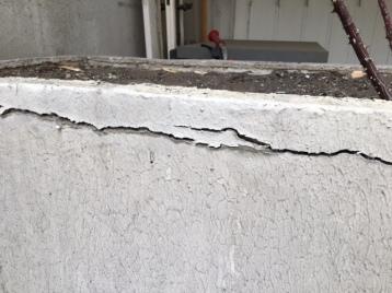 Fissuration des jardinières de l'immeuble
